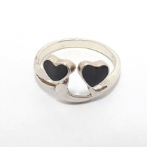 anillo doble corazon en plata 925