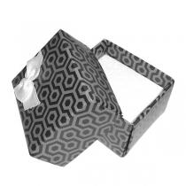 Estuche patrón hexagonal con moño para aros o anillos x 12 unidades