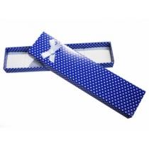 Estuche con lunares para pulsera, azul con moño X 12 unidades