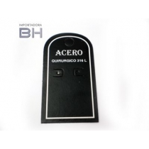 Cartón exhibidor para aros negro con leyenda ACERO QUIRURGICO 316L x1 unidadCartón exhibidor para aros negro con leyenda ACERO QUIRURGICO 316L x1 unidad