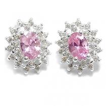 Aros de Plata con piedra engarzada rosa y cubics