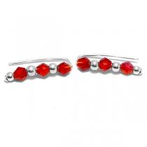 Aros de Plata 925 trepadores con piedras rojas