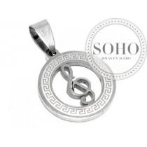 Dije círculo clave sol calada con guarda de acero quirúrgico SOHO