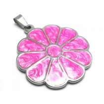 Dije flor esmaltada rosa de acero quirúrgico