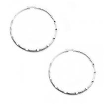PACK de 3 pares de Aros argolla tramada 65mm de acero blanco