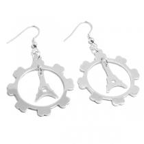 Aros colgantes torre Eiffel de acero blanco