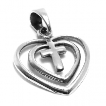 Dije de Plata 925 doble corazón con cruz