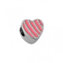 Dije para pulsera pandora corazón esmaltado rosa de acero quirúrgico