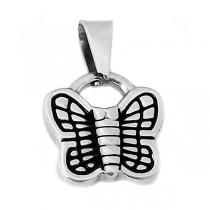 Dije mariposa esmaltado negro de acero quirúrgico