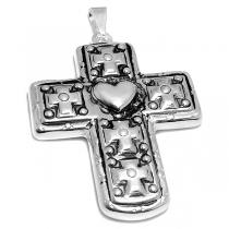 Maxi-dije cruz inflada y tramada con corazón de acero blanco