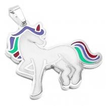 Dije unicornio esmaltado de acero blanco