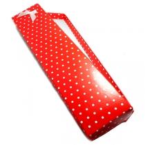 Estuche con lunares para pulsera rojo con moño x 12 unidades