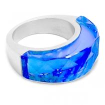 Anillo semi círculo piedra facetada azul de acero quirúrgico