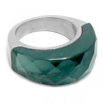 Anillo semi círculo piedra facetada verde de acero quirúrgico