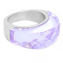 Anillo semi círculo piedra facetada violeta de acero quirúrgico