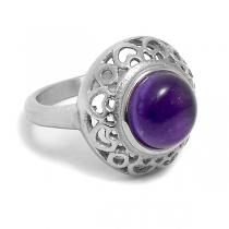 Anillo corazones calados con piedra violeta de acero quirúrgico