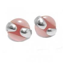 Aros de Plata nácar rosa 10mm