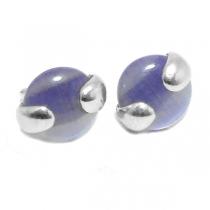 Aros de Plata nácar violeta 10mm