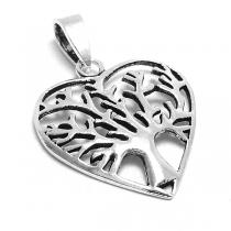 Dije de Plata 925 corazón con árbol de la vida