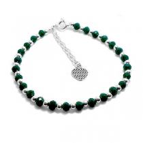Pulsera de Plata 925 18cm-21cm piedras verdes, bolitas y corazón colgante
