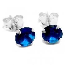 Aros de Plata cubic enarzado azul 6mm