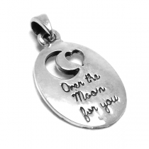 "Dije de Plata 925 luna y corazón ""Over the moon for you"""