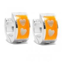 PACK x6 Aros cubanos esmaltados naranja de acero blanco