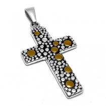 Dije cruz tramada con dorado de acero quirúrgico
