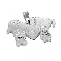 PACK de 5 Dijes pareja nenes corazón con cubics blancos de acero blanco
