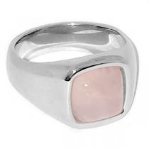 Anillo con piedra rosa cuadrada de acero quirúrgico