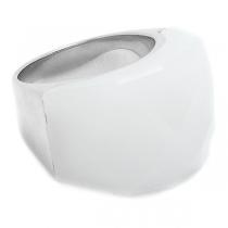 Anillo piedra facetada gruesa blanco de acero quirúrgico