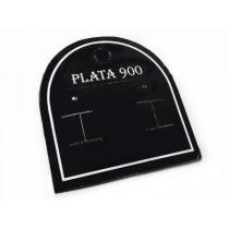 Cartón exhibidor para aros negro con leyenda PLATA 900 x1 unidad