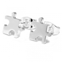 Aros pieza de puzzle 8mm de acero blanco