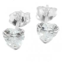 Aros de Plata cubic corazón engarzado trasparente 4mm
