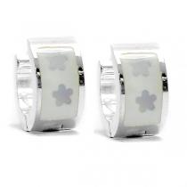 PACK x6 Aros cubanos esmaltados blanco de acero blanco