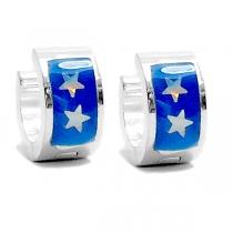 PACK x6 Aros cubanos esmaltados azul de acero blanco