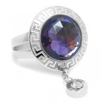 Anillo cristal facetado violeta con guarda y cubic colgante de acero quirúrgico