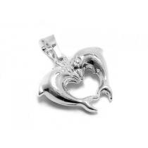 Dije de Plata 925 delfines corazón