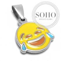 Dije emoji gota sonrisa de acero quirúrgico SOHO