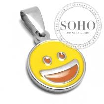 Dije emoji sonrisa de acero quirúrgico SOHO