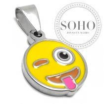 Dije emoji beso de acero quirúrgico SOHO