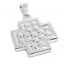 Dije cruz del equilibrio tramada de acero blanco