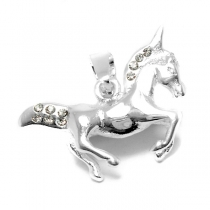 Dije unicornio con cubics de acero blanco
