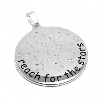 "Dije con frase ""Reach for the stars"" con estrellas tramadas de acero blanco"