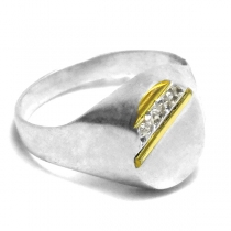 Anillo de Plata con duble sello con cubics