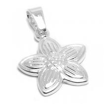 Dije flor de acero blanco