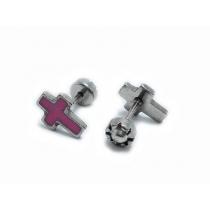 Abridores cruz esmaltados rosa de acero quirúrgico
