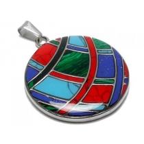 Dije círculo con lineas dobles estilo Plata Peruana de acero quirúrgico