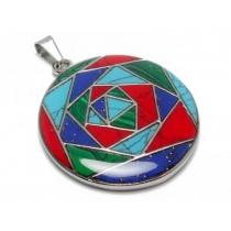 Dije círculo formas estilo Plata Peruana de acero quirúrgico