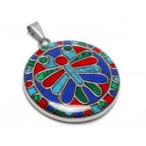 Dije círculo libélula estilo Plata Peruana de acero quirúrgico